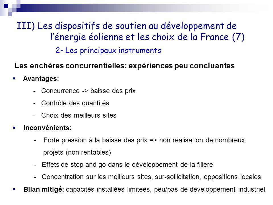 III) Les dispositifs de soutien au développement de l'énergie éolienne et les choix de la France (7)