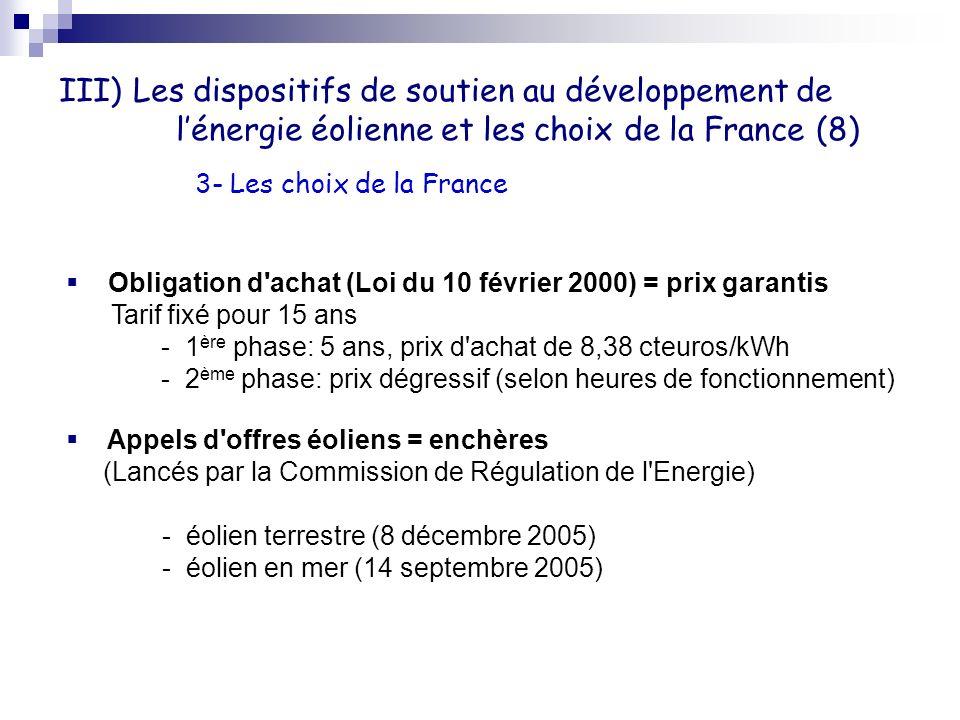 III) Les dispositifs de soutien au développement de l'énergie éolienne et les choix de la France (8)
