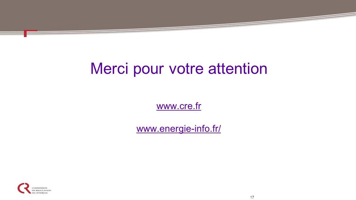 Merci pour votre attention www.cre.fr www.energie-info.fr/