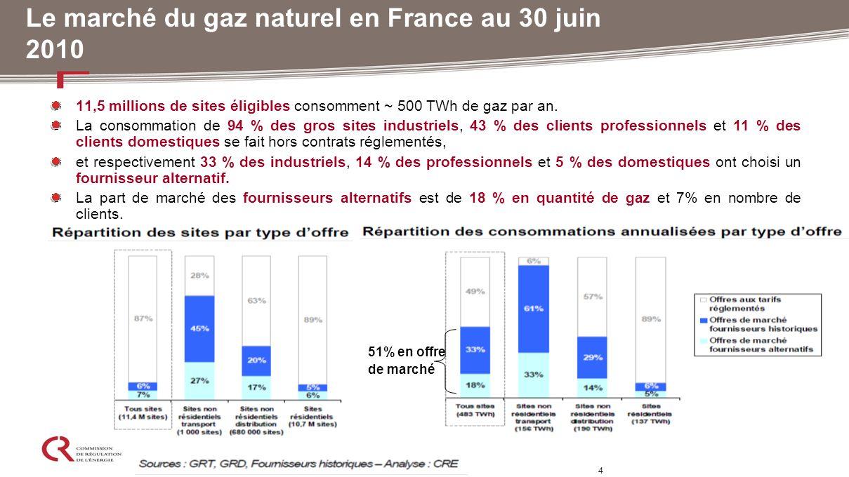 Le marché du gaz naturel en France au 30 juin 2010