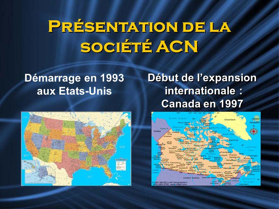 Présentation de la société ACN Démarrage en 1993 aux Etats-Unis