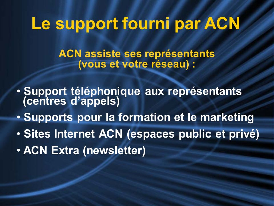 Le support fourni par ACN
