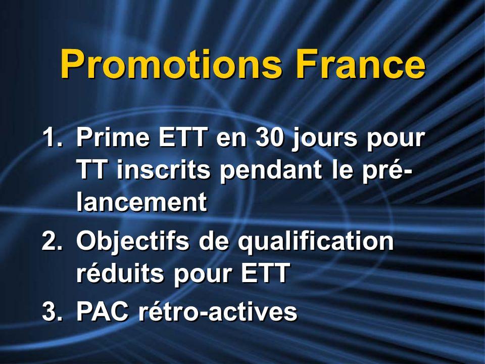 Promotions France Prime ETT en 30 jours pour TT inscrits pendant le pré-lancement. Objectifs de qualification réduits pour ETT.