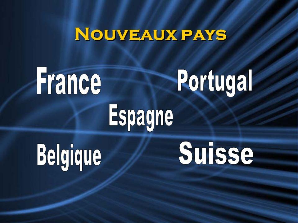 Nouveaux pays France Portugal Espagne Suisse Belgique
