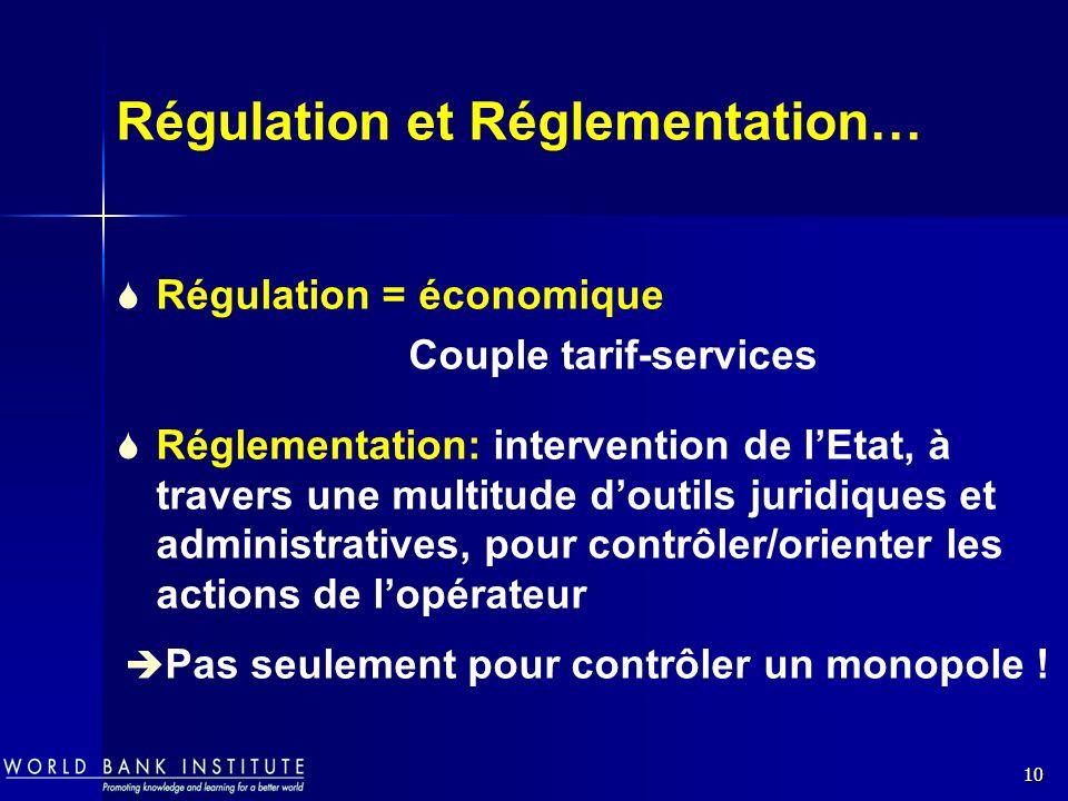 Régulation et Réglementation…