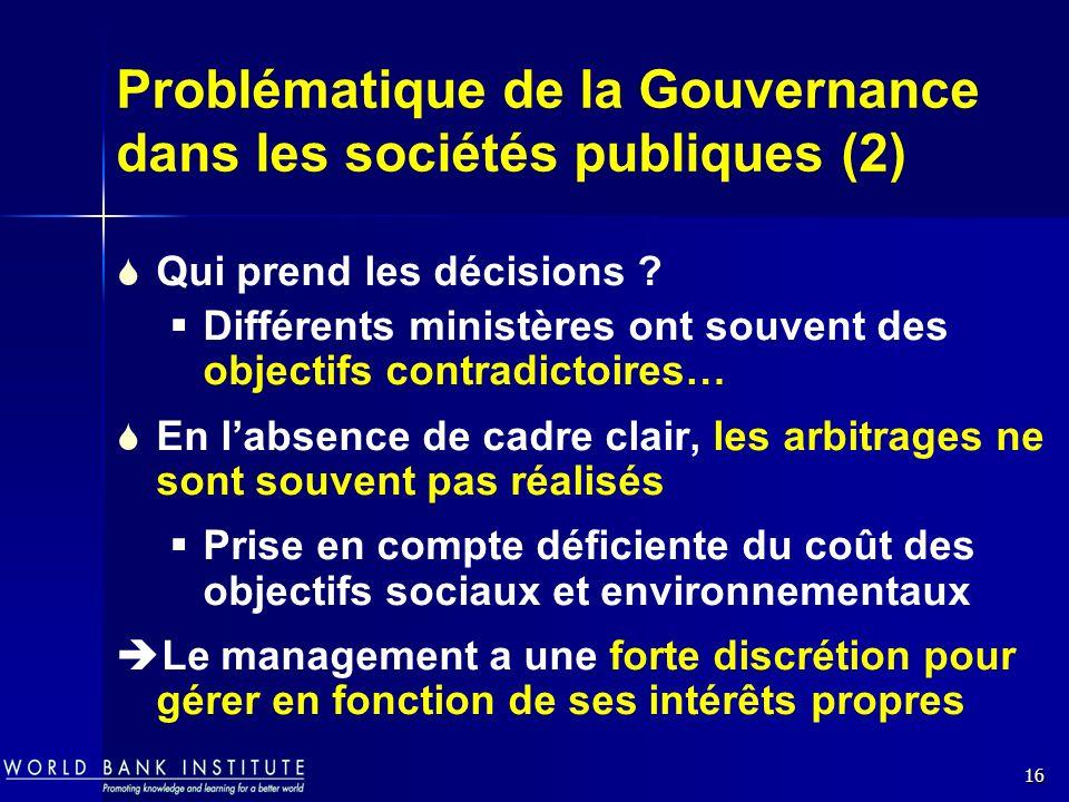 Problématique de la Gouvernance dans les sociétés publiques (2)