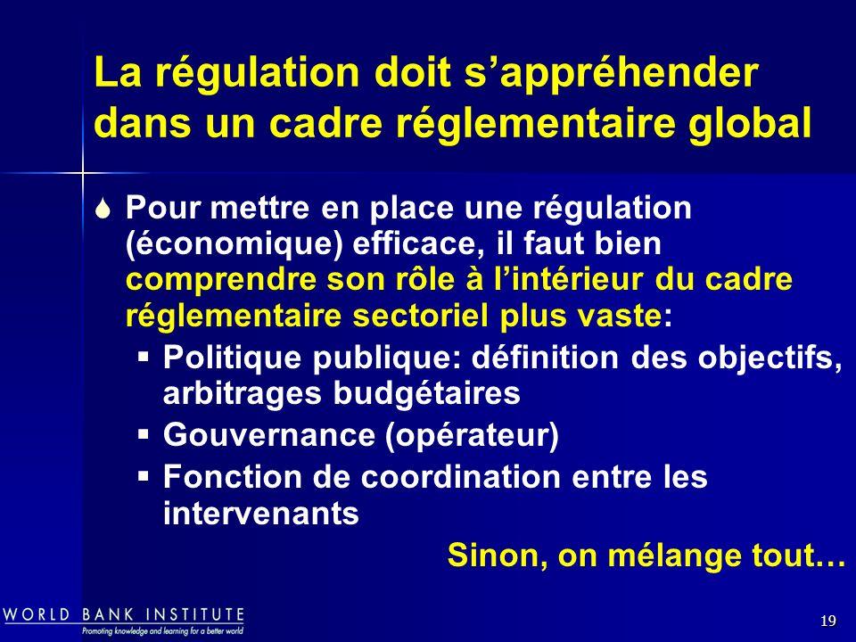 La régulation doit s'appréhender dans un cadre réglementaire global