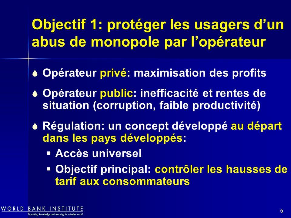 Objectif 1: protéger les usagers d'un abus de monopole par l'opérateur