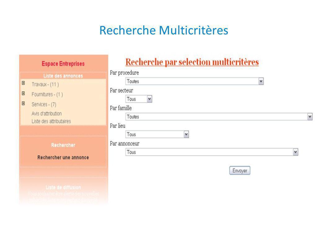 Recherche Multicritères