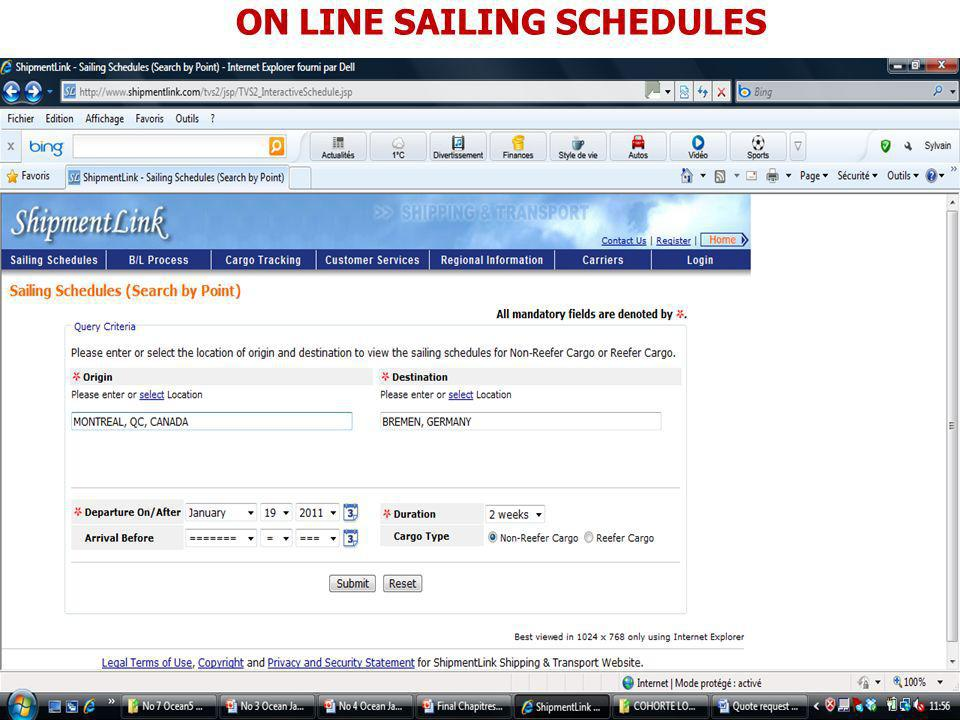 ON LINE SAILING SCHEDULES