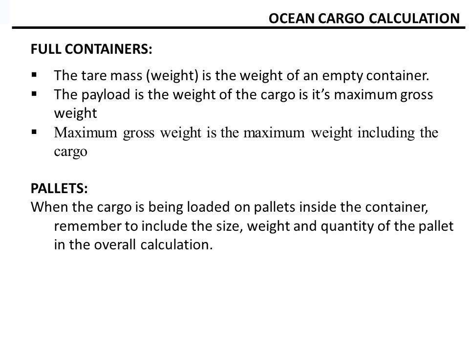 OCEAN CARGO CALCULATION