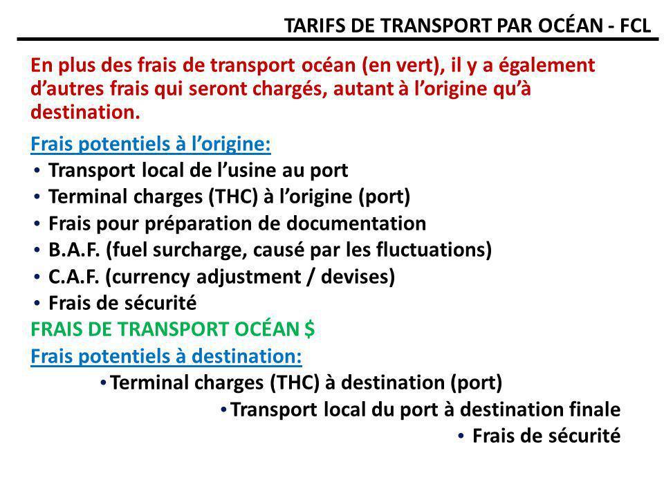 TARIFS DE TRANSPORT PAR OCÉAN - FCL