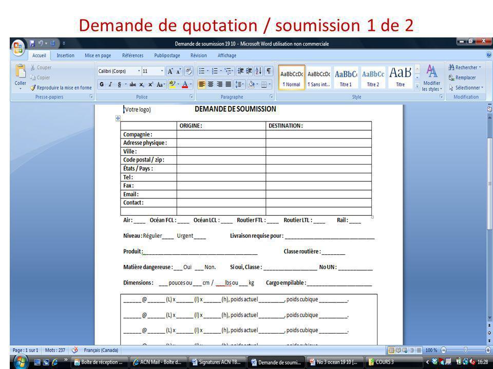 Demande de quotation / soumission 1 de 2