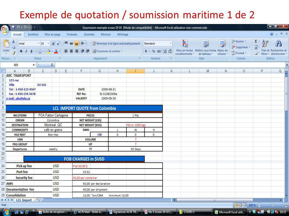 Exemple de quotation / soumission maritime 1 de 2