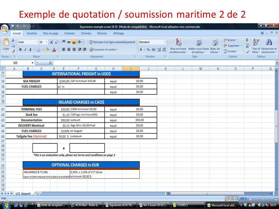 Exemple de quotation / soumission maritime 2 de 2