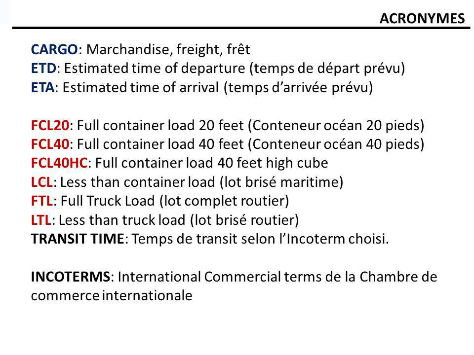 ACRONYMES CARGO: Marchandise, freight, frêt. ETD: Estimated time of departure (temps de départ prévu)