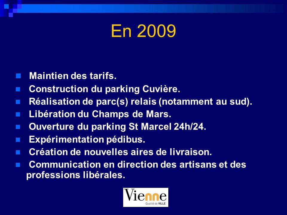 En 2009 Maintien des tarifs. Construction du parking Cuvière.