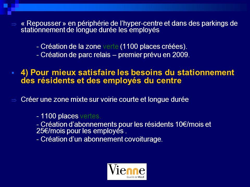 « Repousser » en périphérie de l'hyper-centre et dans des parkings de stationnement de longue durée les employés