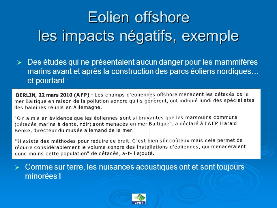 Eolien offshore les impacts négatifs, exemple