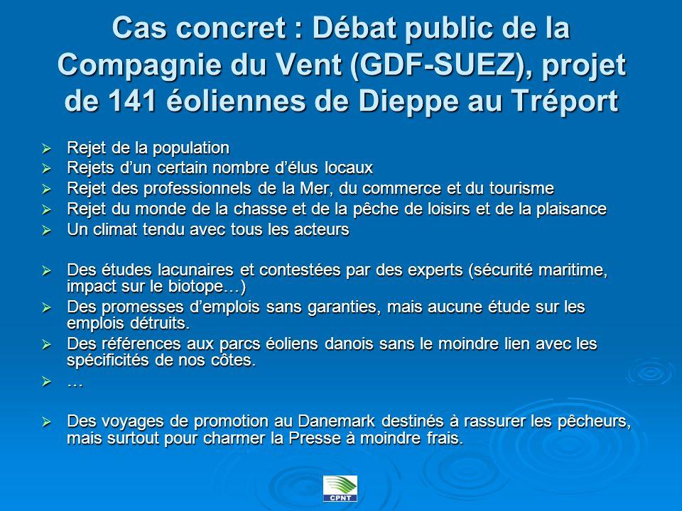 Cas concret : Débat public de la Compagnie du Vent (GDF-SUEZ), projet de 141 éoliennes de Dieppe au Tréport