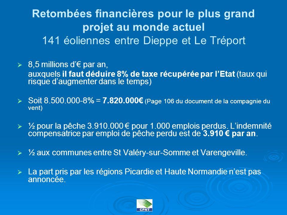 Retombées financières pour le plus grand projet au monde actuel 141 éoliennes entre Dieppe et Le Tréport