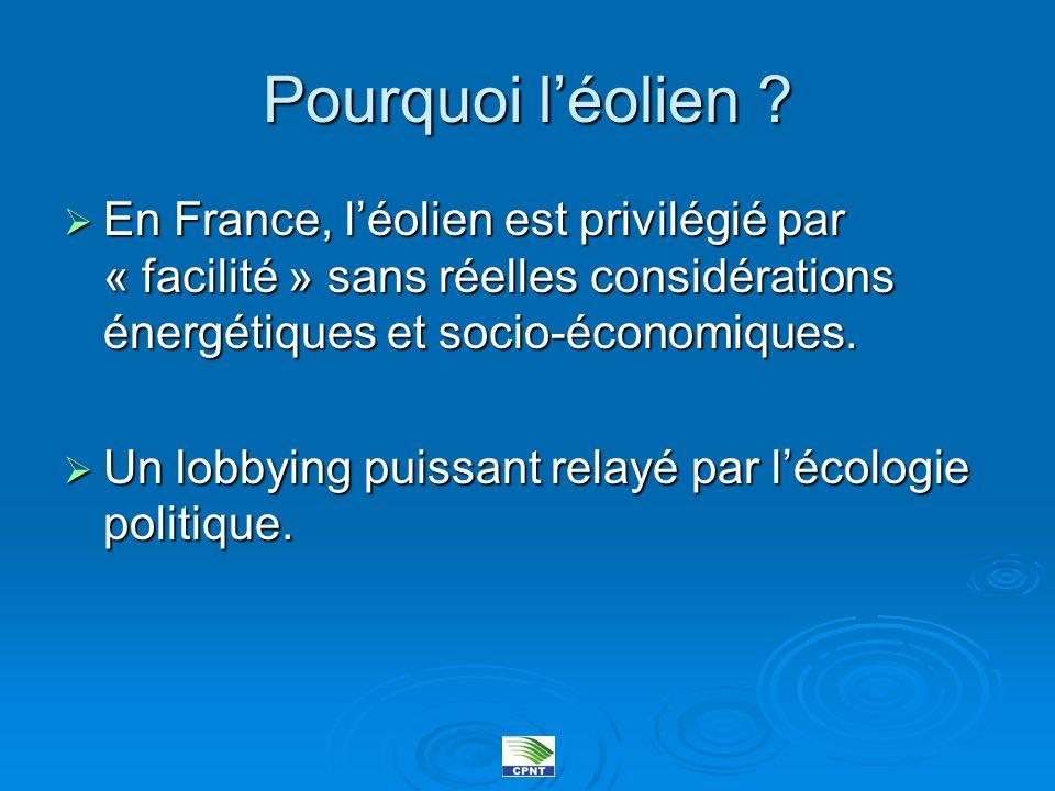 Pourquoi l'éolien En France, l'éolien est privilégié par « facilité » sans réelles considérations énergétiques et socio-économiques.