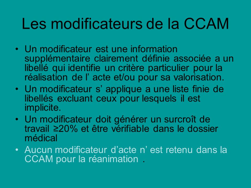 Les modificateurs de la CCAM