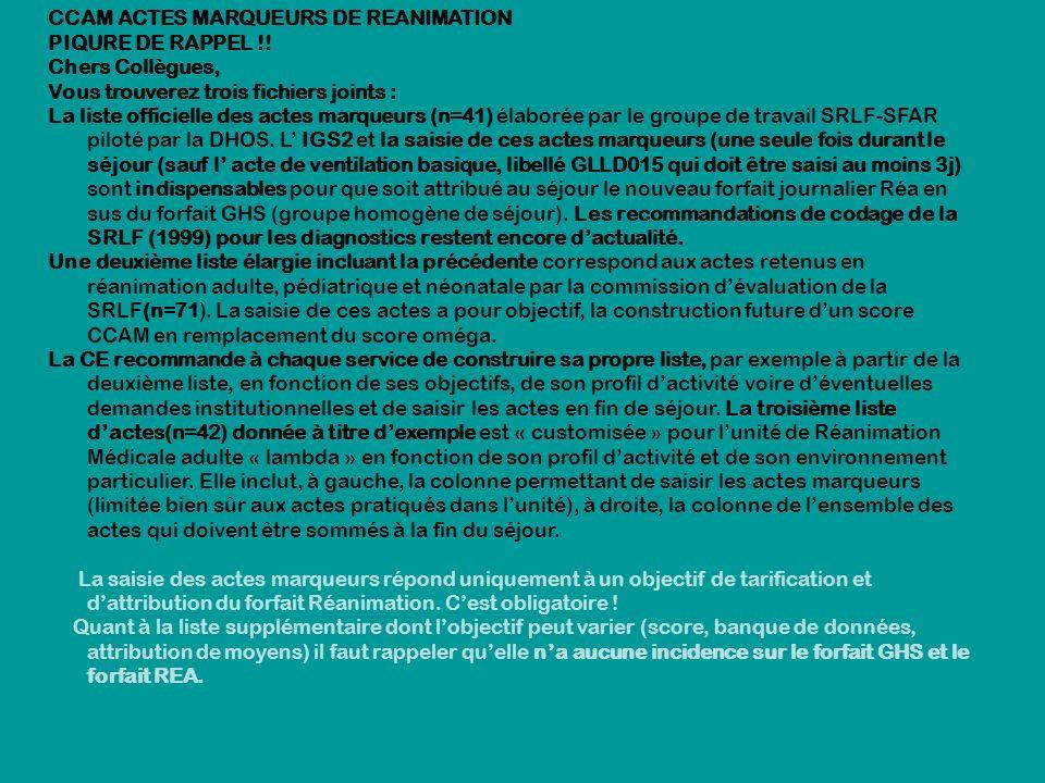 CCAM ACTES MARQUEURS DE REANIMATION