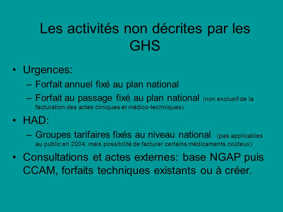 Les activités non décrites par les GHS