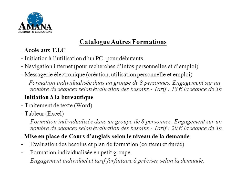 Catalogue Autres Formations