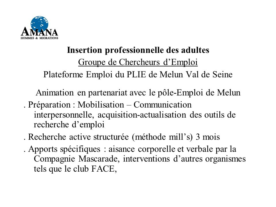Insertion professionnelle des adultes
