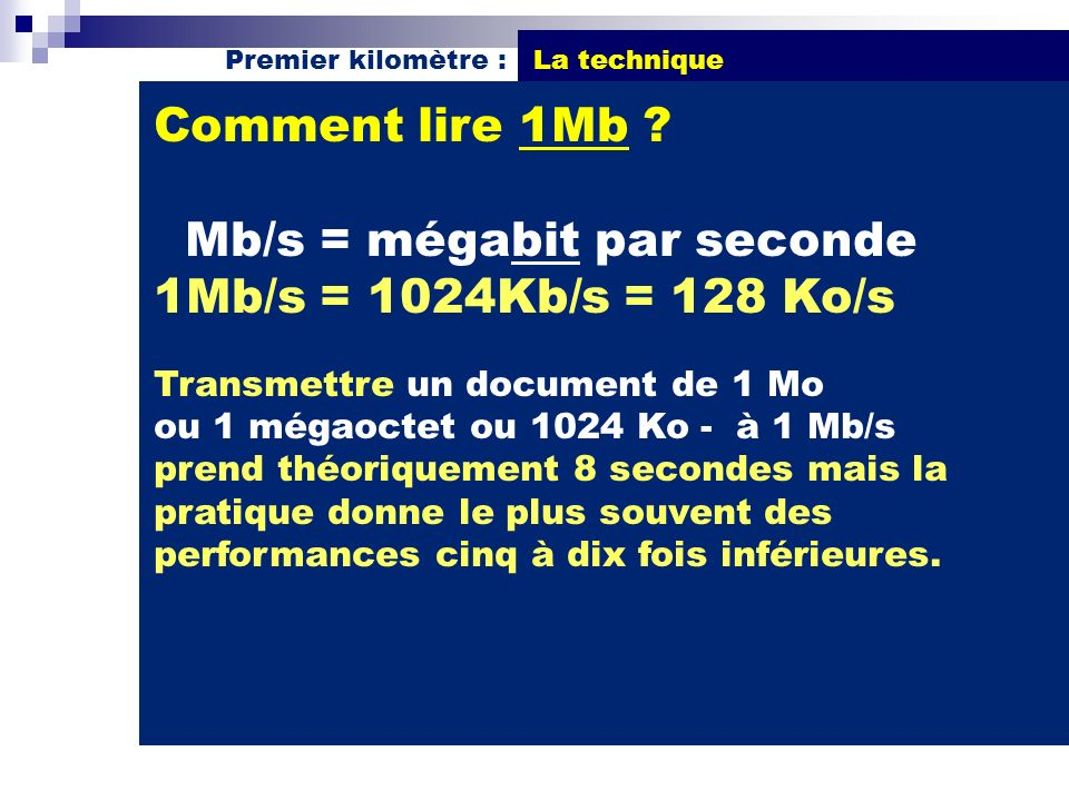 Mb/s = mégabit par seconde 1Mb/s = 1024Kb/s = 128 Ko/s