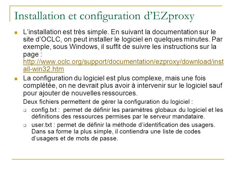 Installation et configuration d'EZproxy