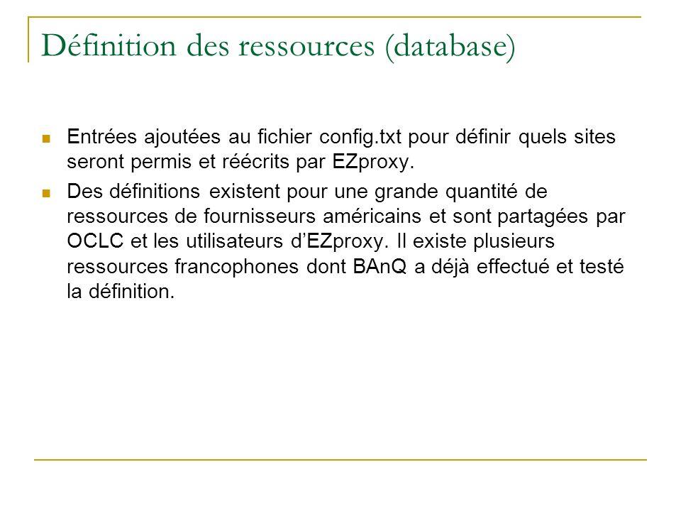 Définition des ressources (database)