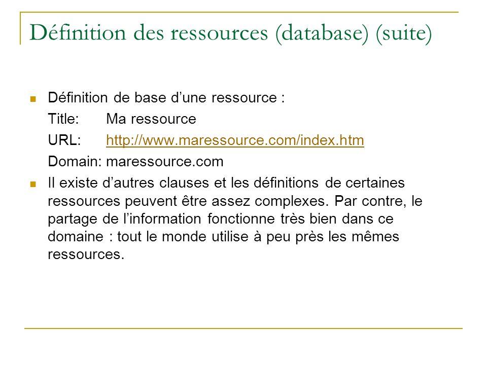 Définition des ressources (database) (suite)