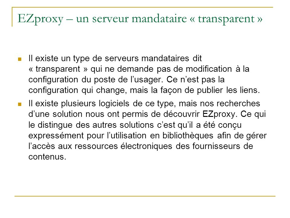 EZproxy – un serveur mandataire « transparent »