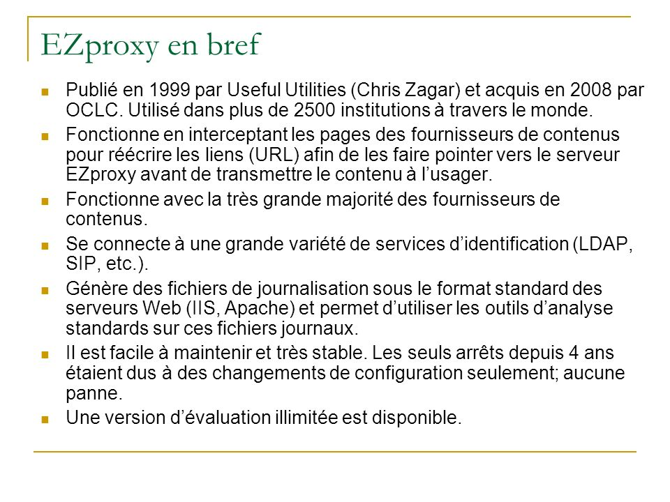 EZproxy en bref