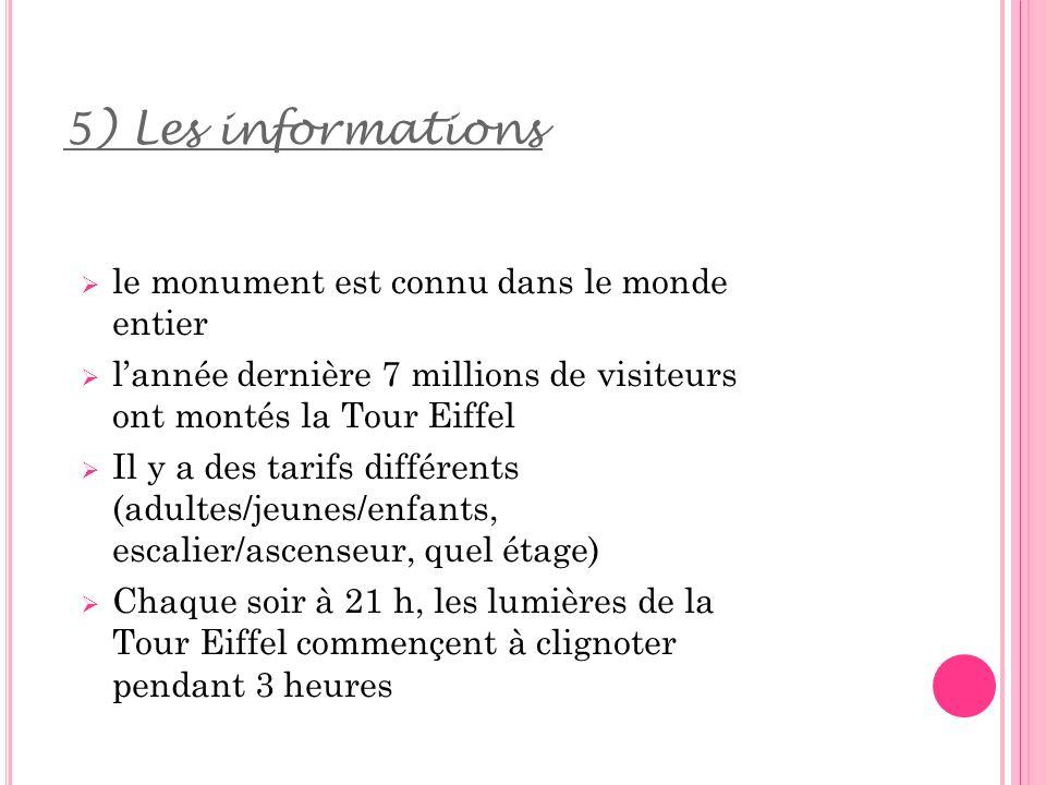 5) Les informations le monument est connu dans le monde entier