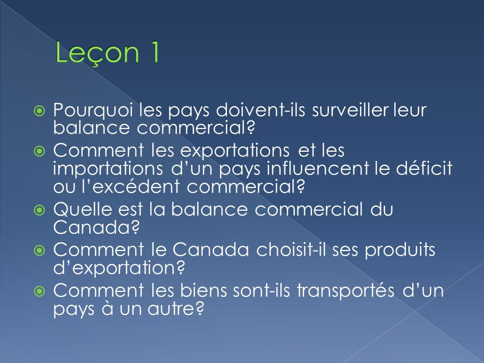 Leçon 1 Pourquoi les pays doivent-ils surveiller leur balance commercial