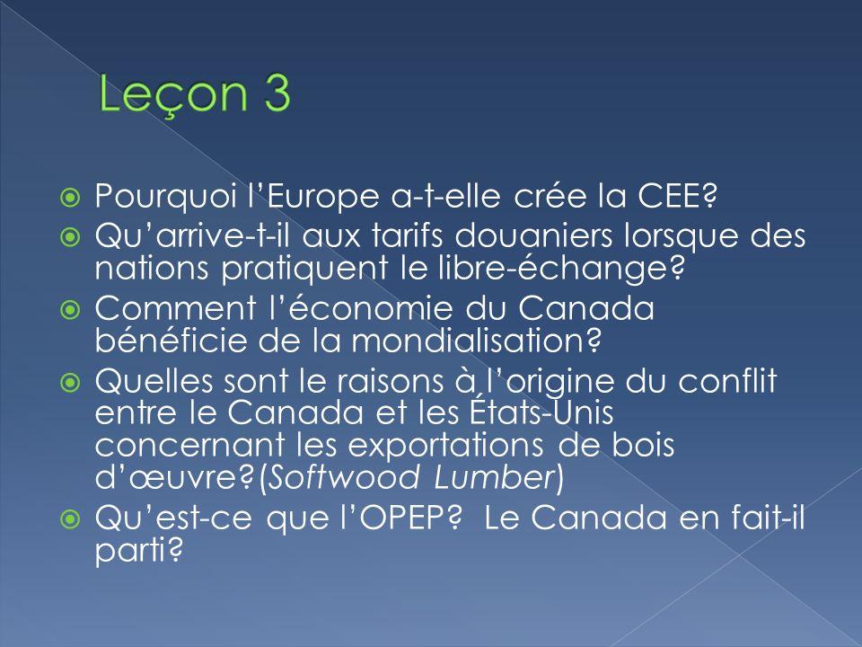 Leçon 3 Pourquoi l'Europe a-t-elle crée la CEE
