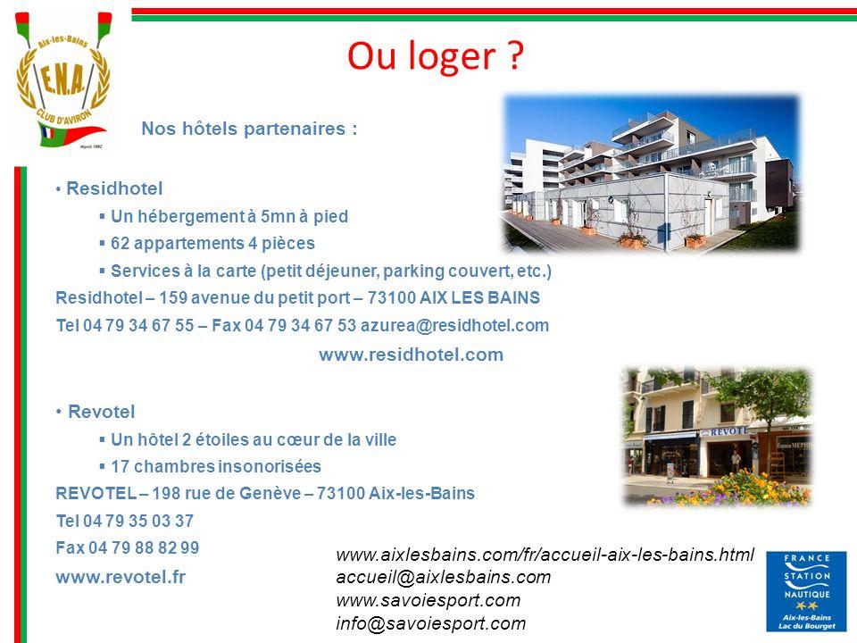 Ou loger Nos hôtels partenaires : www.residhotel.com Revotel