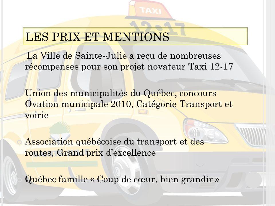 LES PRIX ET MENTIONS La Ville de Sainte-Julie a reçu de nombreuses récompenses pour son projet novateur Taxi 12-17.