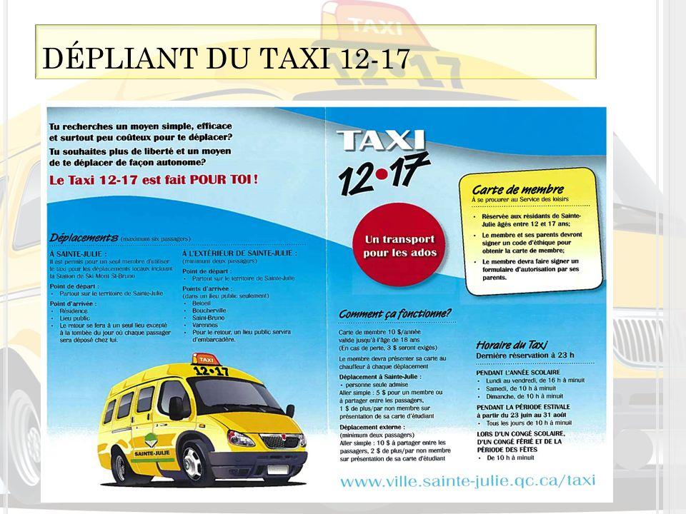 DÉPLIANT DU TAXI 12-17 Clientèle Abonnement au service