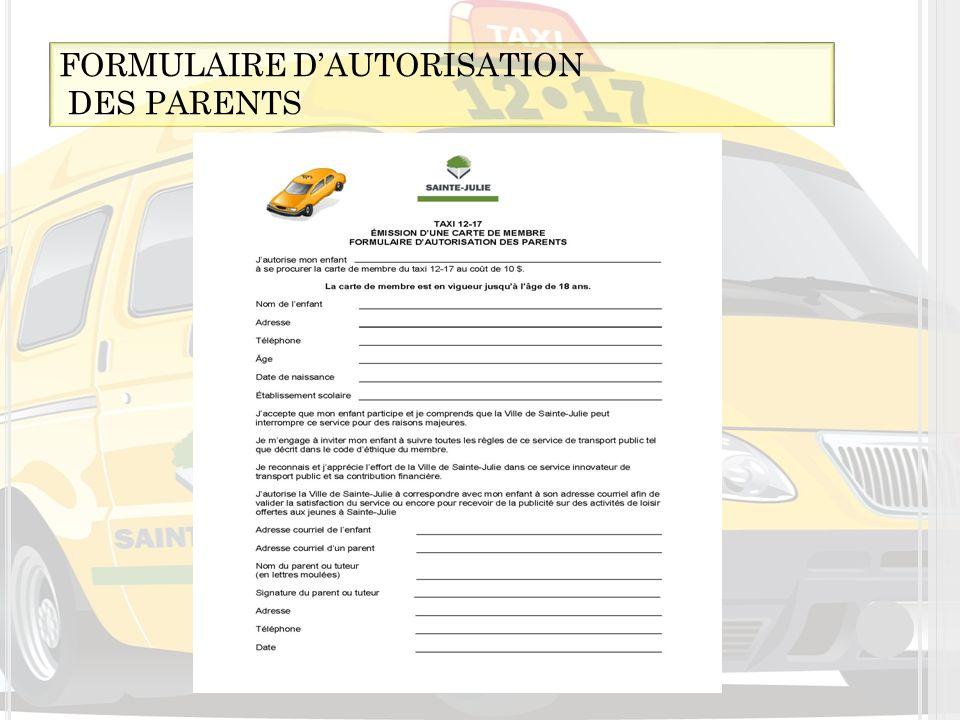 FORMULAIRE D'AUTORISATION
