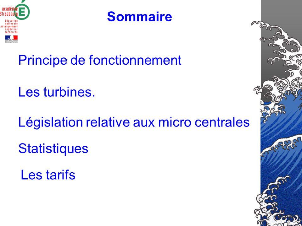 Sommaire Principe de fonctionnement. Les turbines. Législation relative aux micro centrales. Statistiques.
