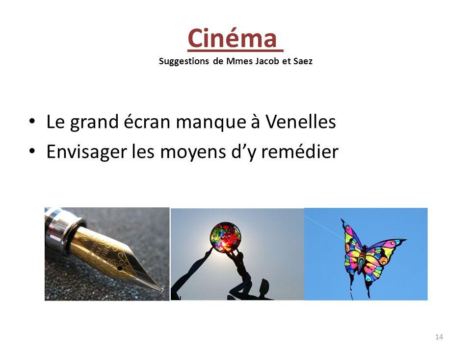 Cinéma Suggestions de Mmes Jacob et Saez