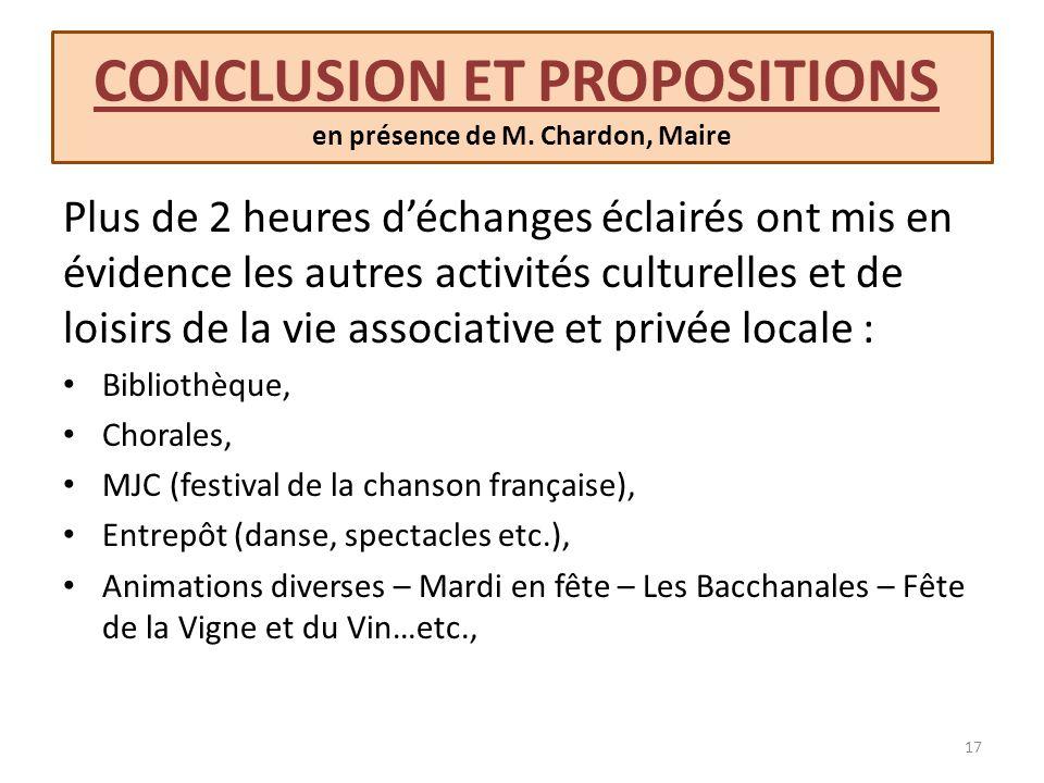 CONCLUSION ET PROPOSITIONS en présence de M. Chardon, Maire