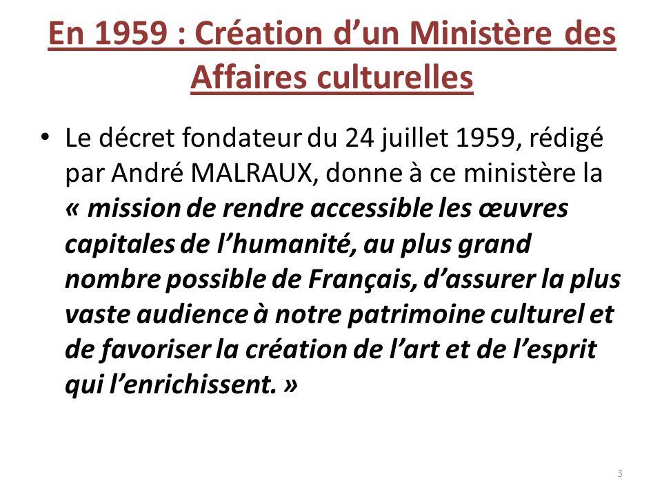 En 1959 : Création d'un Ministère des Affaires culturelles