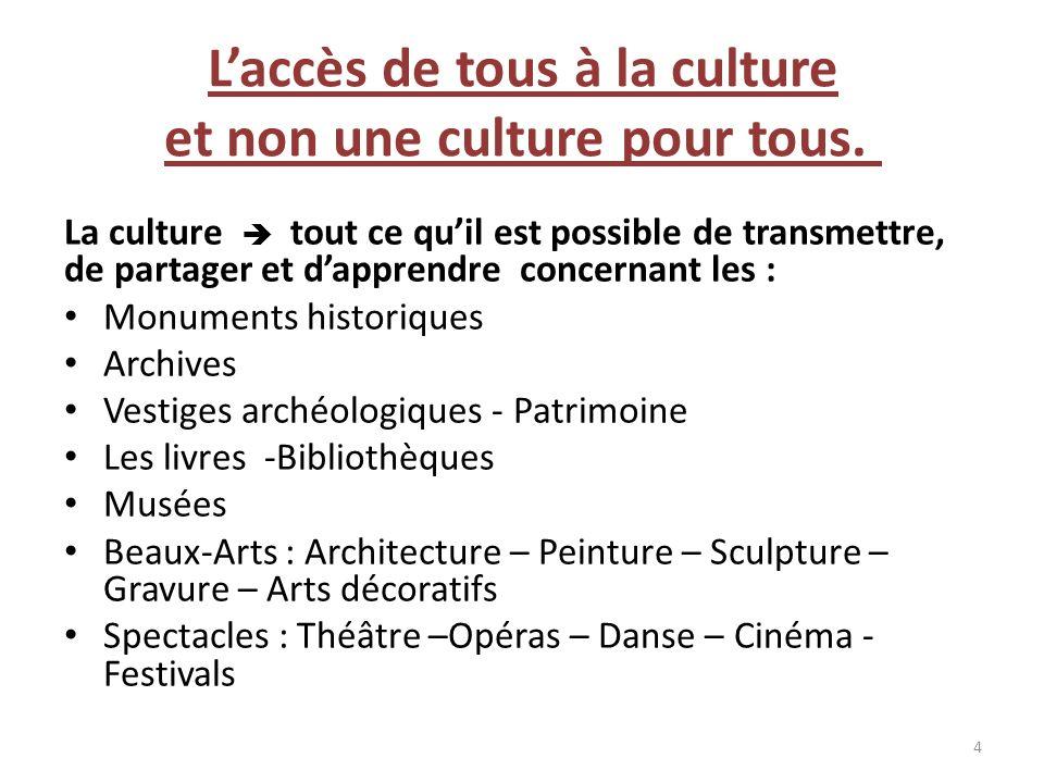 L'accès de tous à la culture et non une culture pour tous.
