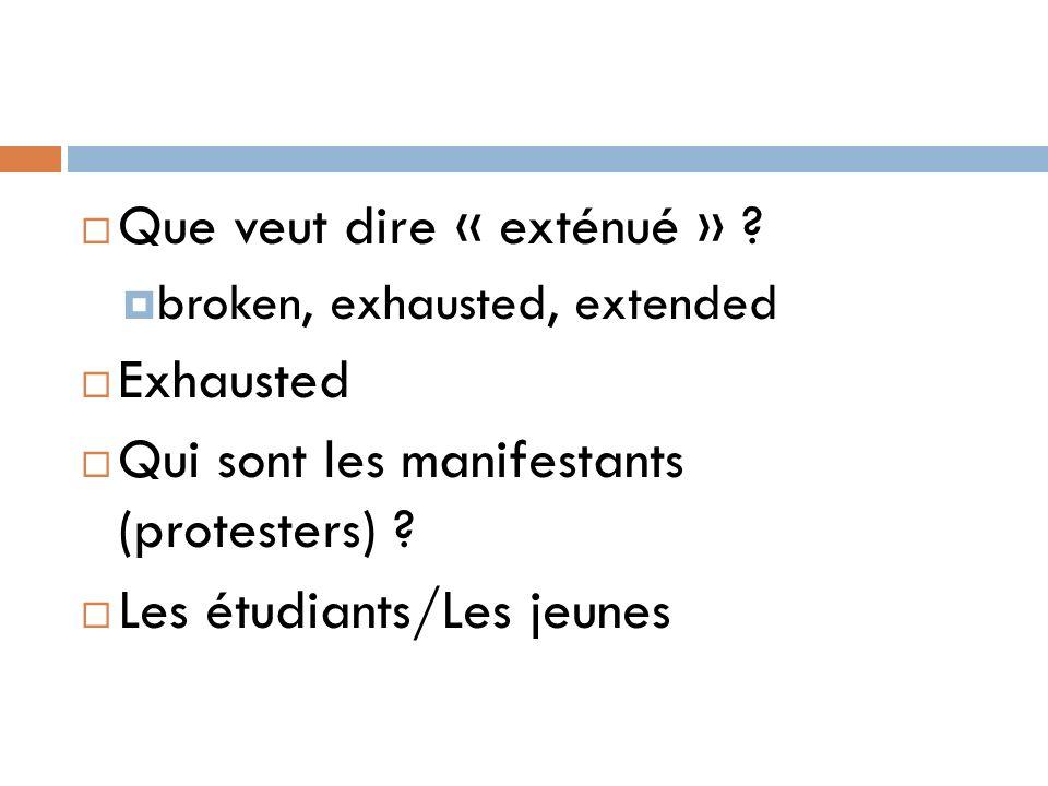 Que veut dire « exténué » Exhausted